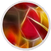 Cluisiana Tulips Triptych Panel 1 Round Beach Towel