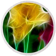 Cluster Of Gladiolas Triptych Panel 3 Round Beach Towel