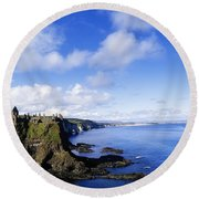 Co Antrim, Dunluse Castle Round Beach Towel