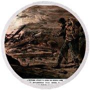 Coal Mine Explosion, 1884 Round Beach Towel