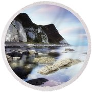 Coast Between Carnlough & Waterfoot, Co Round Beach Towel