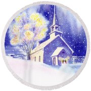 Coastal Church Christmas Round Beach Towel