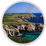 Coastal Cliffs And Seascape With Boat Round Beach Towel