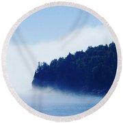 Coastal Morning Fog Round Beach Towel