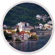 Coastal Town Of Montenegro Round Beach Towel