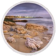 Coastline At Twilight Round Beach Towel