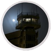 Cob Speicher Control Tower Under A Full Round Beach Towel by Terry Moore