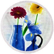 Cobalt Blue Glass Bottles And Gerbera Daisies Round Beach Towel