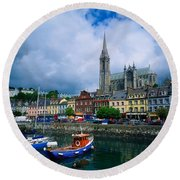 Cobh Cathedral & Harbour, Co Cork Round Beach Towel