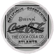 Coca Cola Clock In Black And White Round Beach Towel