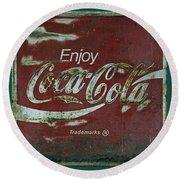 Coca Cola Green Red Grunge Sign Round Beach Towel