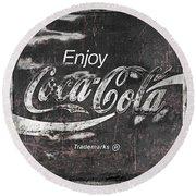 Coca Cola Pink Grunge Sign Round Beach Towel