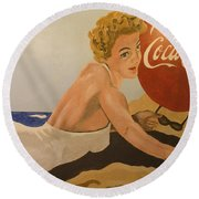 Coca Cola  Vintage Sign Round Beach Towel