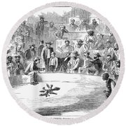 Cock Fighting, 1866 Round Beach Towel
