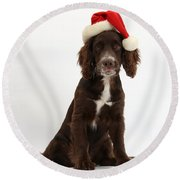 Cocker Spaniel With Santa Hat Round Beach Towel