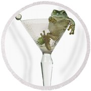 Cocktail Frog Round Beach Towel