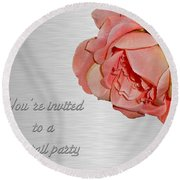 Cocktail Party Invitation - Fabric Rose Round Beach Towel