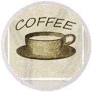 Coffee 3-2 Scrapbook Round Beach Towel