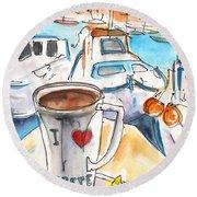 Coffee Break In Heraklion In Crete Round Beach Towel