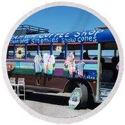Coffee Bus Round Beach Towel
