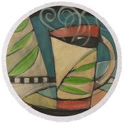 Coffee Cup With Leaves Round Beach Towel