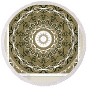 Coffee Flowers 1 Olive Medallion Scrapbook Round Beach Towel