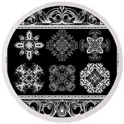 Coffee Flowers Ornate Medallions Bw 6 Piece Collage Framed  Round Beach Towel