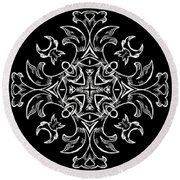 Coffee Flowers Ornate Medallions Bw Vertical Tryptych 1 Round Beach Towel