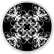 Coffee Flowers Ornate Medallions Bw Vertical Tryptych 2 Round Beach Towel