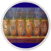 Coffee In The Window Round Beach Towel