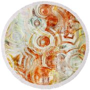 Coffee Rings Abstract Round Beach Towel