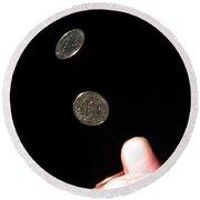 Coin Flipping Round Beach Towel
