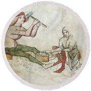 coinage - Gothic mural Round Beach Towel