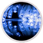 Cold Blue Led Lights Closeup Round Beach Towel