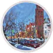 Cold Morning In Elmwood Ave  Round Beach Towel