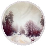 Cold Road Round Beach Towel