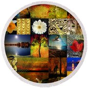 Collage Of Colors Round Beach Towel