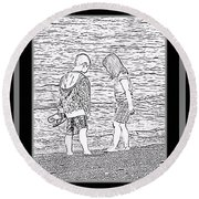 Collecting Seashells By The Seashore Round Beach Towel