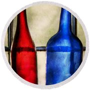 Collector - Bottles - Two Empty Wine Bottles  Round Beach Towel