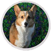 Collie Round Beach Towel by Bill Cannon