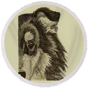 Collie Round Beach Towel