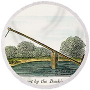 Colonial Ducking Stool Round Beach Towel