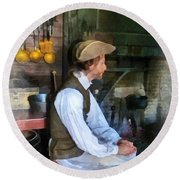 Colonial Man In Kitchen Round Beach Towel
