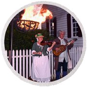 Colonial Musicians By Firelight Round Beach Towel