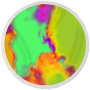 Color Fusion Abstract Round Beach Towel