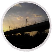 Color Of Sunset Over Metro Pillar In Delhi Round Beach Towel