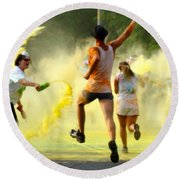 Color Run Happy Round Beach Towel