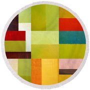 Color Study Abstract 9.0 Round Beach Towel by Michelle Calkins