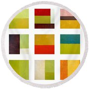 Color Study Abstract Collage Round Beach Towel by Michelle Calkins