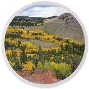 Colorado Autumn Aspens Colors Round Beach Towel